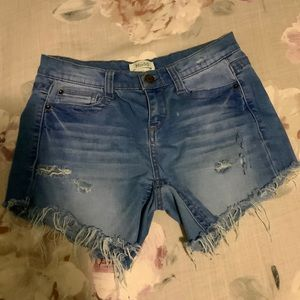 Distressed Denim Shorts   Mudd